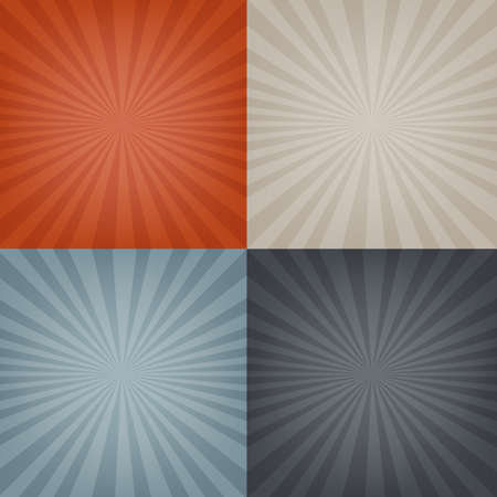 4 Sunburst Backgrounds Set, With Gradient Mesh, Vector Illustration