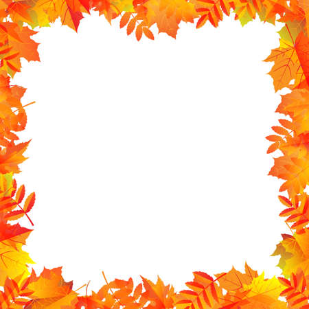 Autumn Leaves Border With Gradient Mesh, Vector Illustration Vector