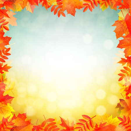 Autumn Red Leaves Border With Gradient Mesh, Vector Illustration Vector