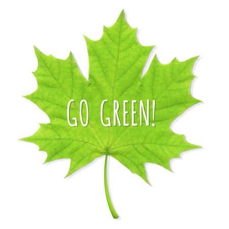 Green Leaf Go Green, Vector Illustration Vector