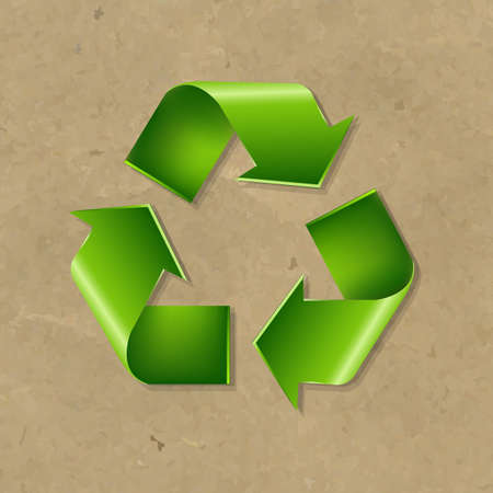 recycle symbol vector: Recycle Symbol With Gradient Mesh, Vector Illustration
