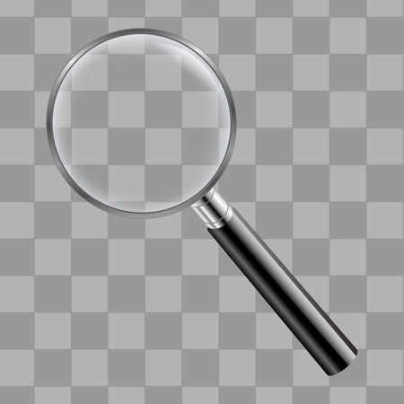 Magnifing Glass With Transparent Background With Gradient Mesh, Vector Illustration