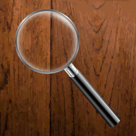 wooden vector mesh: Magnifing Glass With Wooden Background With Gradient Mesh, Vector Illustration Illustration