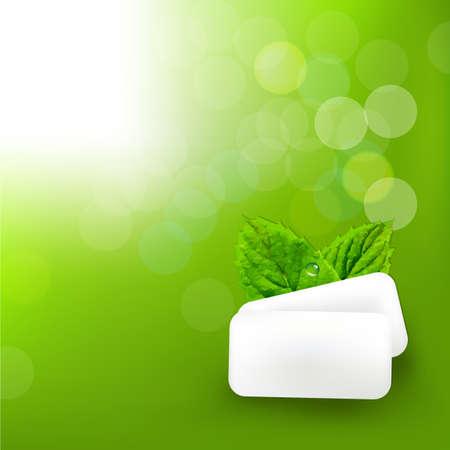 spearmint: Mint Gum With Blur Bokeh With Gradient Mesh, Vector Illustration