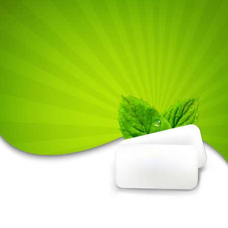 Mint Gum With Sunburst With Gradient Mesh, Vector Illustration