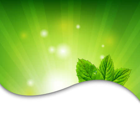 Green Wall With Green Leaves With Gradient Mesh, Vector Illustration