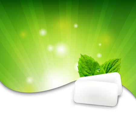 chewing gum: Green Wall With Mint Gum With Gradient Mesh, Vector Illustration Illustration