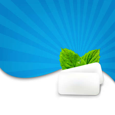 chewing: Gum With Blue Sunburst With Gradient Mesh, Vector Illustration