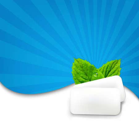 chewing gum: Gum With Blue Sunburst With Gradient Mesh, Vector Illustration