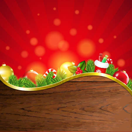 Happy Christmas Border With Sunburst With Gradient Mesh, Vector Illustration Vector
