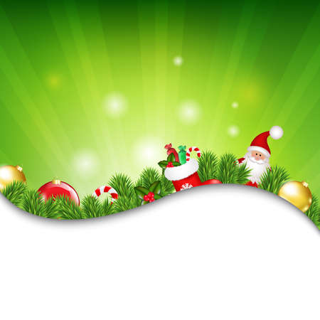 Happy Christmas Border With Sunburst With Gradient Mesh, Vector Illustration Vector