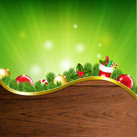 Happy Xmas Banner With Gradient Mesh, Vector Illustration Vector