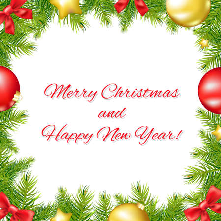 new year border: Christmas And Happy New Year Card With Gradient Mesh, Vector Illustration