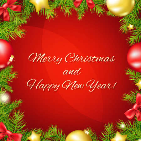 designs: Christmas And Happy New Year Poster With Gradient Mesh, Vector Illustration