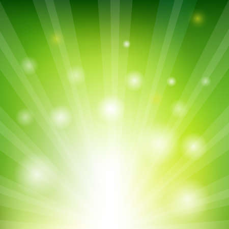 green and gold: Green Sunburst Xmas With Gradient Mesh, Vector Illustration Illustration