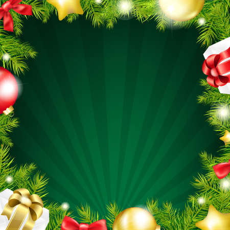 Green Xmas Sunburst Color Card With Gradient Mesh, Vector Illustration Vector