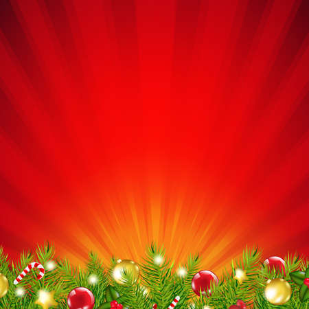 Red Xmas Sunburst Border With Gradient Mesh, Vector Illustration Vector