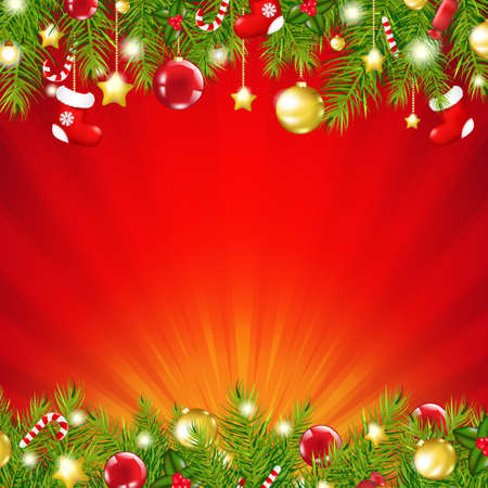 Red Xmas Sunburst Card With Gradient Mesh, Vector Illustration Vector