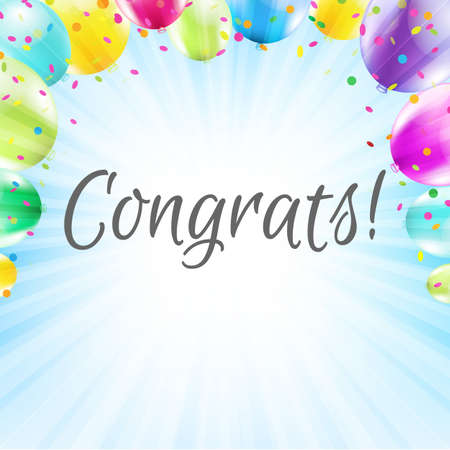 congratulations word: Congrats Card With Gradient Mesh, Vector Illustration