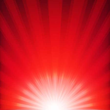 laser radiation: Red Xmas Burst Poster With Gradient Mesh, Vector Illustration