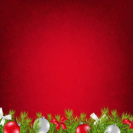 christmas holiday background: Red Xmas Card With Gradient Mesh, Vector Illustration