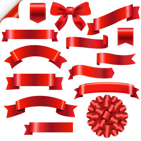 ribbons vector: Big Red Ribbons Set With Gradient Mesh, Vector Illustration