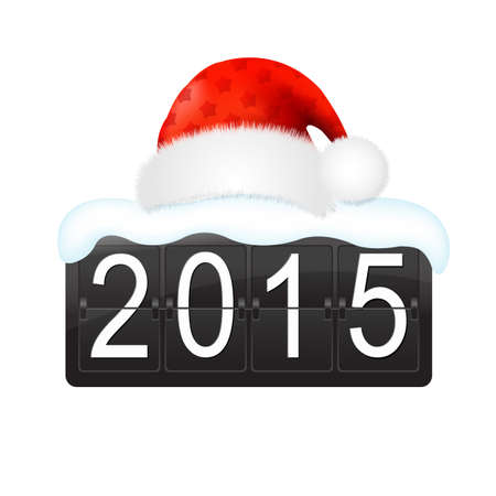 new year counter: New Year Counter With Santa Hat Cap With Gradient Mesh, Vector Illustration Illustration