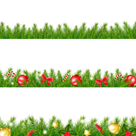 pine decoration: Christmas Border With Fir Tree With Gradient Mesh, Vector Illustration