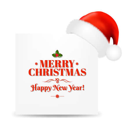 christmas hat: Happy Christmas Card With Santa Hat With Gradient Mesh, Vector Illustration