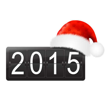 new year counter: New Year Counter With Santa Hat With Gradient Mesh, Vector Illustration