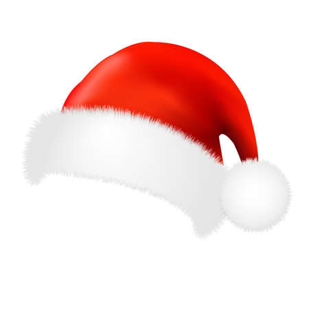 Santa Claus Cap With Gradient Mesh, Vector Illustration