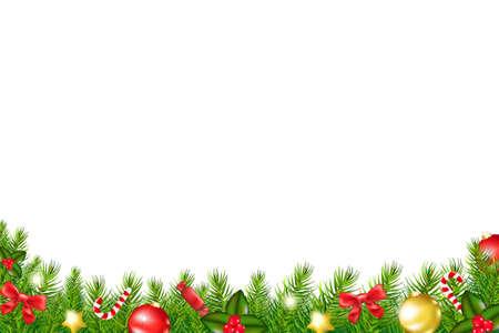 fir tree balls: Xmas Border With Fir Tree With Gradient Mesh, Vector Illustration