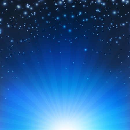 radiate: Blue Sunburst Poster With Gradient Mesh, Vector Illustration