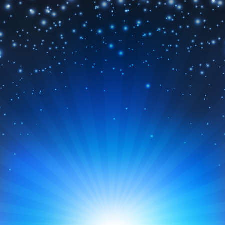 Blue Sunburst Poster With Gradient Mesh, Vector Illustration