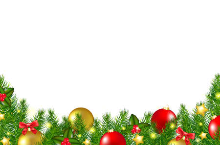 Christmas Border With Holly Berry With Gradient Mesh, Vector Illustration Vector