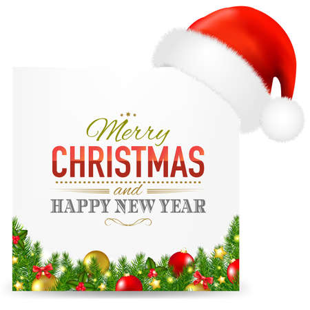Christmas Card With Santa Hat And Text With Gradient Mesh, Vector Illustration Çizim