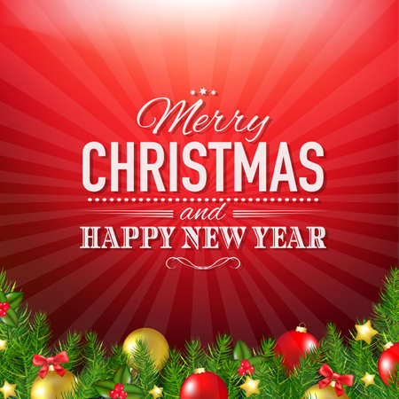Red  Xmas Poster With Gradient Mesh, Vector Illustration Vector