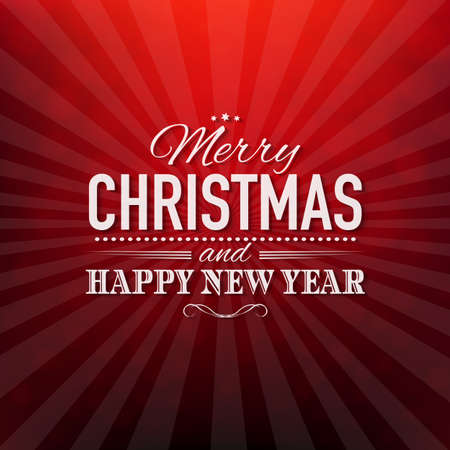 Red Christmas Poster With Bokeh With Gradient Mesh, Vector Illustration Vector