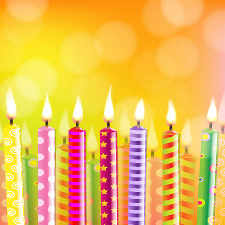 Birthday Card With Candle With Gradient Mesh, Vector Illustration Vector