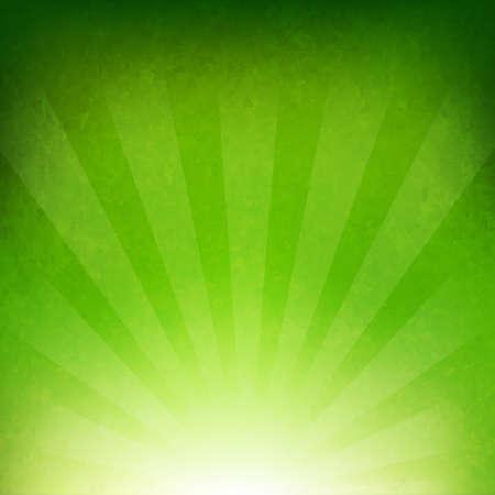 rayos de sol: Fondo verde del resplandor solar con malla de degradado, ilustración vectorial