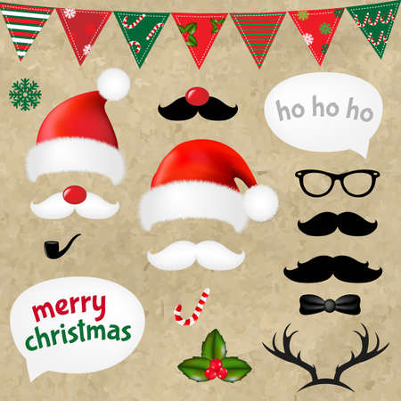 Xmas Hipster Set With Gradient Mesh, Vector Illustration Vector