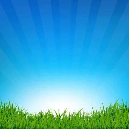 sky background: Blue Sky And Grass Sunburst Background With Gradient Mesh, Vector Illustration
