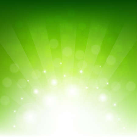 Green Sunburst Eco Background With Gradient Mesh, Vector Illustration Vectores