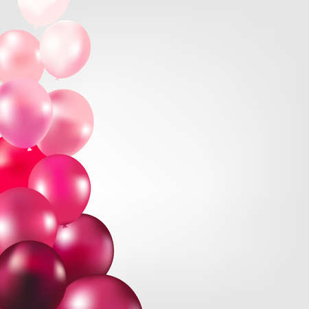 balloon border: Card With Pink Color Balloons With Gradient Mesh