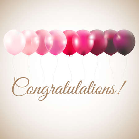 Congratulations Card With Gradient Mesh Stock Illustratie