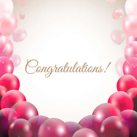 congratulations word: Congratulations Card With Balloons With Gradient Mesh Illustration