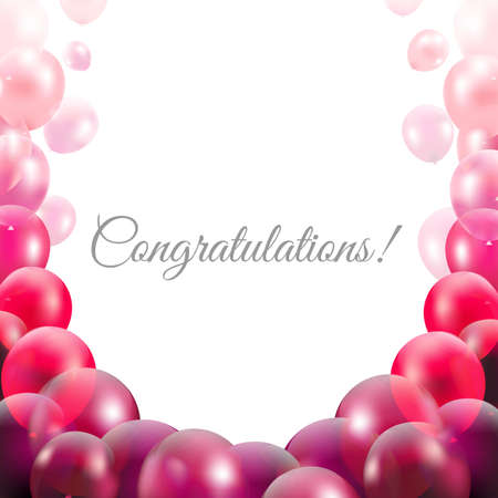 pink balloons: Congratulations Card With Pink Balloons With Gradient Mesh