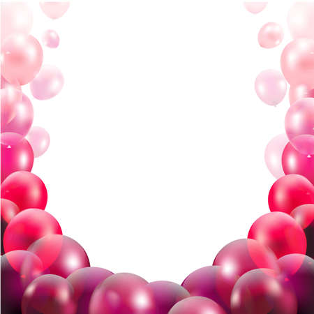 pink balloons: Congratulations Card With Pink Balloons With Gradient Mesh, Vector Illustration