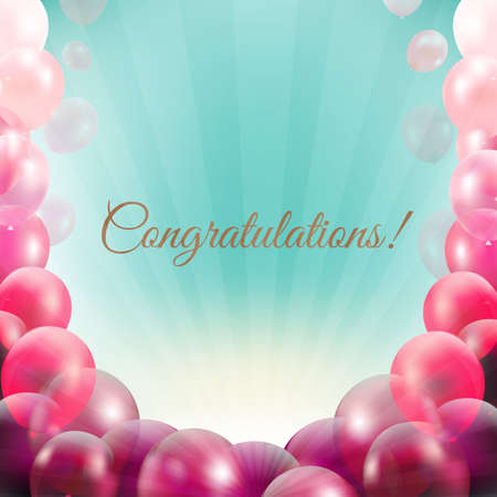 congratulations word: Congratulations Card With Pink Balloons Frame With Gradient Mesh, Vector Illustration Illustration