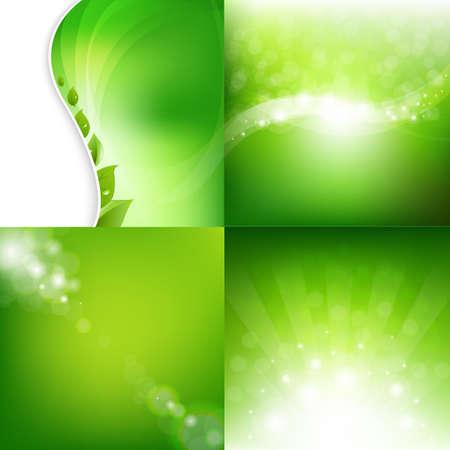 Eco Natural Backgrounds Set With Gradient Mesh, Illustration 矢量图像